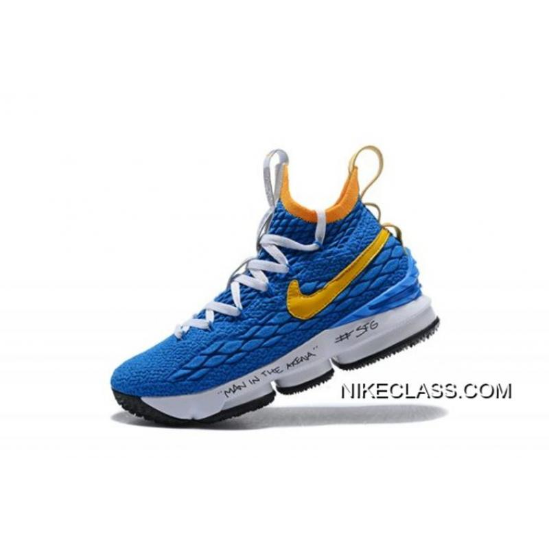 """new concept 2095b ba908 Men s Nike LeBron 15 """"Waffle Trainer"""" Blue Yellow Basketball Shoes Top  Deals ..."""