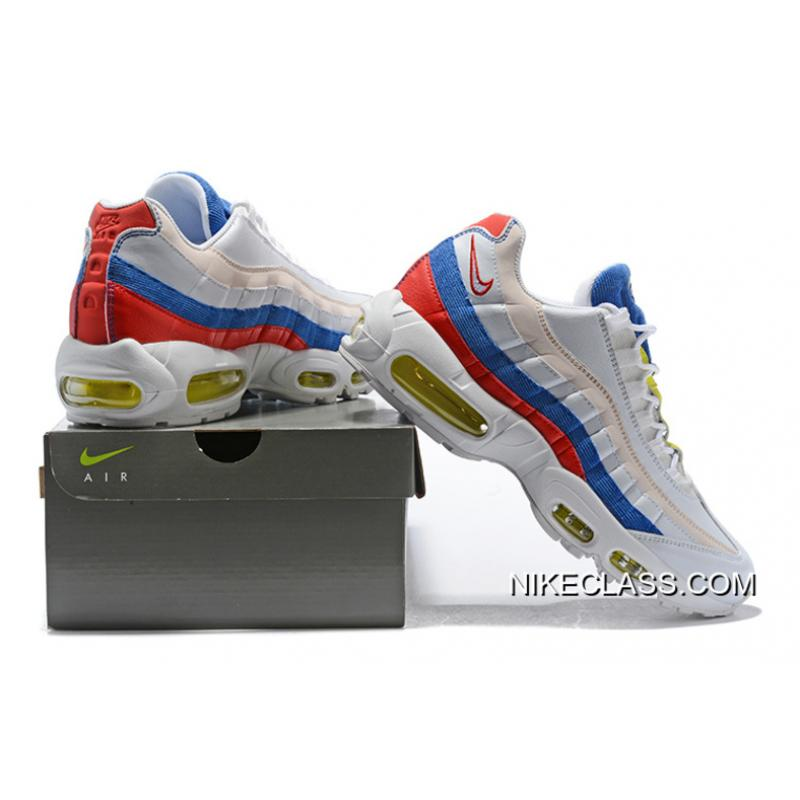 8cd779a97b New Release Nike Air Max 95 Se Tricolor Red Yellow Blue Color Matching  Corduroy Zoom Air